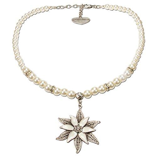 Alpenflüstern Perlen-Trachtenkette Glamour-Edelweiß - Damen-Trachtenschmuck Dirndlkette Creme-weiß DHK144