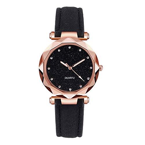 Moda damska koreański kryształ górski różowe złoto kwarcowy zegarek damski pasek zegarek Viahwyt pasek Czarny
