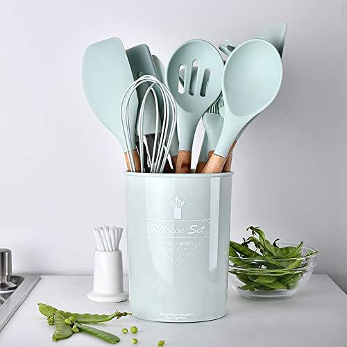 UniForU Lot de 11 ustensiles de cuisine en silicone avec poignées en bois naturel antiadhésif, spatule, cuillère, passoire, outil de cuisine - 3