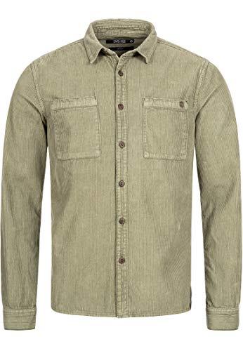 Indicode Herren Fulham Cordhemd mit 2 Brust-Taschen aus 100% Baumwolle - Cord | Regular Fit Langarm Hemd Herrenhemd Baumwollhemd Markenhemd langärmlig Freizeithemd für Männer Army XL