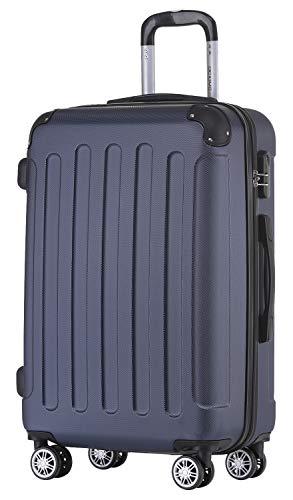 BEIBYE Hartschalen-Koffer Trolley Rollkoffer Reisekoffer Handgepäck 4 Rollen (M-L-XL-Set) (Dunkelblau, L)