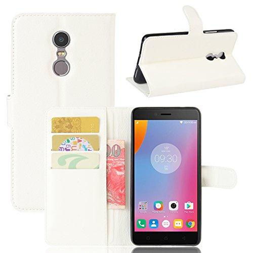 HualuBro Lenovo K6 Note Hülle, Lenovo K6 Note Schutzhülle, Premium PU Leder Wallet Flip Tasche Hülle Cover mit Karten Slot für Lenovo K6 Note Smartphone (Weiß)