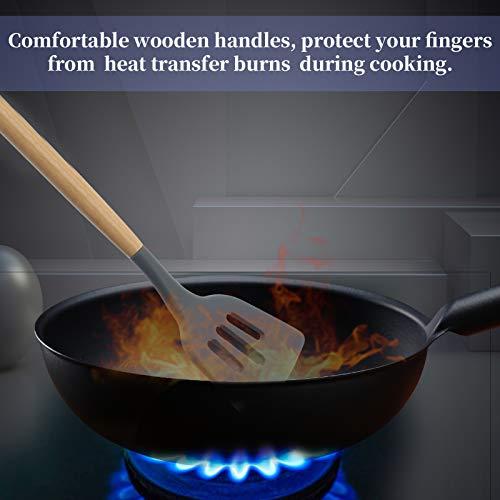 YYP - Espátula de silicona con ranura para wok, resistente al calor, mango de madera, antideslizante, antideslizante, antideslizante, para huevos fritos, panqueques, pescados fritos, más de 32,2 cm