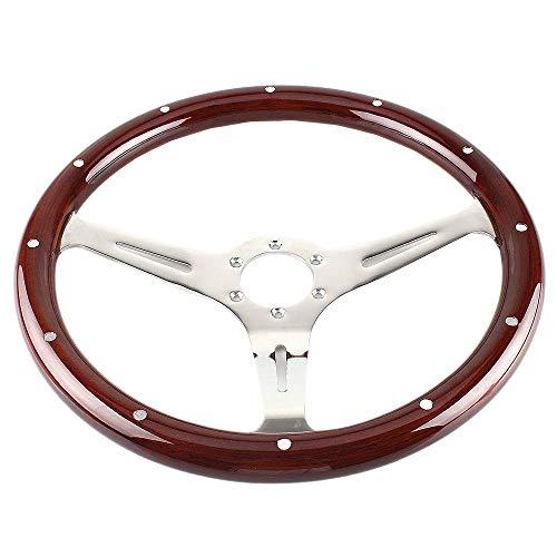 Moligh doll 380Mm 15 Zoll Grant Klassisch Nostalgia Style Lenk Rad mit Holz Maserung, Geschlitzt, 3 Speichen Lenk Rad, Vernietet, Leichter Holz Griff (6 Loch, Inkl. Einbau Satz)