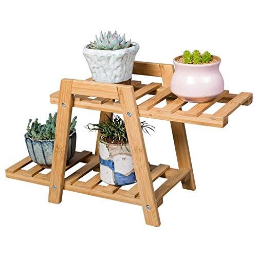 GJX-Stand de Fleurs Étagère De Fleur Intérieur Bambou Support De Plante Bureau Mini Présentoir Étagère De Rangement