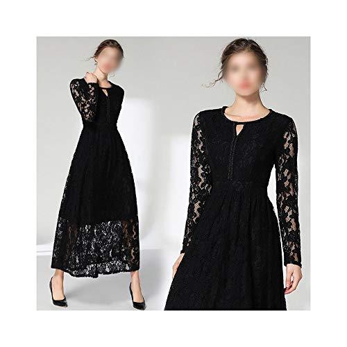 YUMUYMEY Rundhalsausschnitt Perlen über das Knie bis zum Knöchel einfarbig Spitze langes Kleid (Farbe : Schwarz, Size : M)