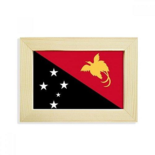 DIYthinker Papua-Neuguinea National Flagge Ozeanien Land Desktop-HÖlz-Bilderrahmen Fotokunst-Malerei Passt 10.2 x 15.2cm (4 x 6 Zoll) Bild Mehrfarbig