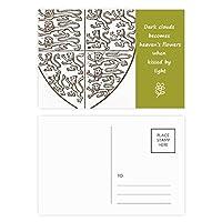 ブラック・ホワイト・バロック美術のシールドのライオンのパターン 詩のポストカードセットサンクスカード郵送側20個