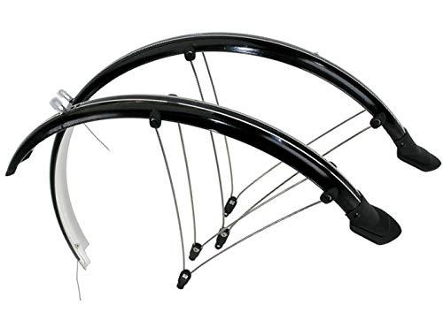 P4B | 28 Zoll Fahrrad Schutzblech Set für Vorderrad + Hinterrad | 45 mm Breite | Rahmenbohrung notwendig | Mit elektronischen Kontaktstreifen | Geeignet für Trekking- und Cityfahrräder (Schwarz)
