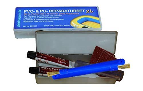 fishingglue.de 2er-Pack PVC & PU- Reparatur-Set XL; Plastik- Flickzeug zum Beispiel für Schlauchboot, Zelt, Pool, Gewebe, Planen, Markise, Isomatte, Luftmatratze usw. aus Vinyl, PVC und PU