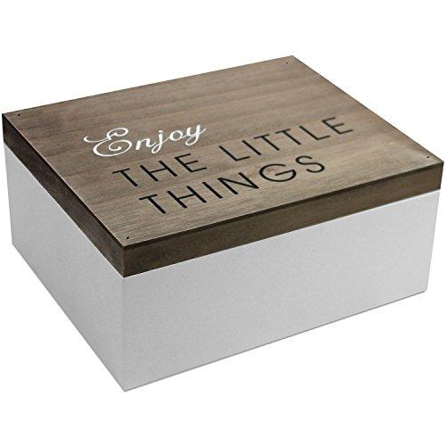 Holzkiste mit Klappdeckel, 22x18x10cm, Braun/Weiß, Shabby-Look, Holzbox Aufbewahrungsbox Aufbewahrungskiste