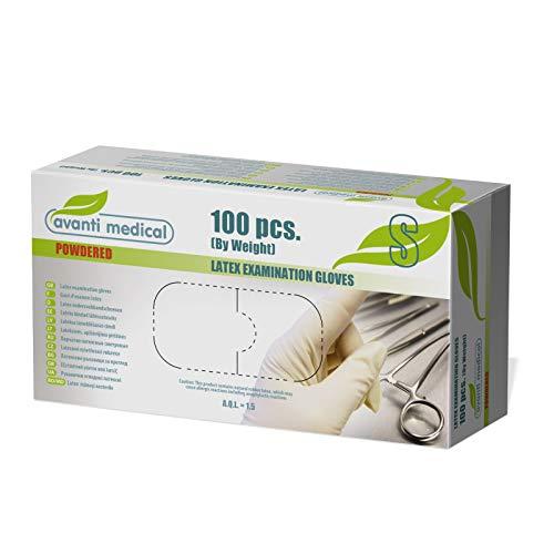 Avanti Medical - Guantes de látex desechables (talla S, 100 unidades, no estériles, para uso cosmético y médico, productos de limpieza, cocina y alimentos)