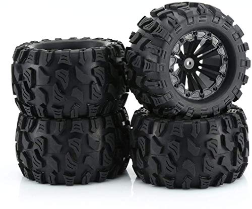 "RCStation 12mm Hex RC Wheels and Tires 1/10 Scale RC Monster Truck Buggy 2.8"" PreGlued RC Tires and Rims with Foam Inserts, Assembled RC Tires and Wheels for 1/10 12mm Hex Traxxas, Etc Set of 4"