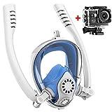 HWJF Máscara de Snorkel de Cara Completa 180 panorámica/giratoria de Paja máscara de Buceo (360 °) Soporte de cámara con Sistema antivaho antivaho antivaho/niños Adultos,White,L/XLadult