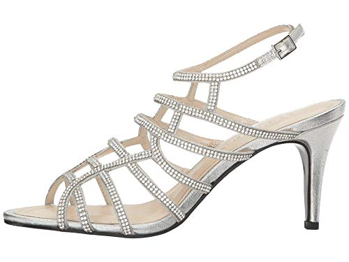 Caparros Womens Pizzaz Open Toe Ankle Strap D-Orsay Silver Metallic