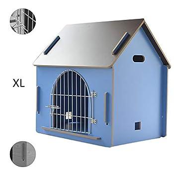 Cages et chenils Maison pour Animaux lit pour Animaux de Compagnie Villa pour Animaux de Compagnie Niche pour Chien en Plein air Litière pour Chat d'intérieur (Color : Blue, Size : 79.5 * 55 * 74cm)