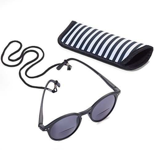 TROIKA Sun Reader 2 – SUR30/BK – Gafas de Sol y Lectura graduación +3,00 dpt – bifocal – con Estuche – policarbonato/acrílico/Microfibra – Negro – TROIKA-Original