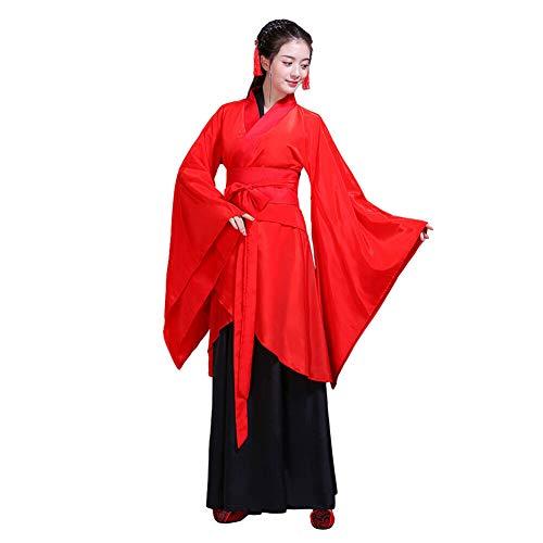 Xingsiyue Mujer Chino Tradicional Hanfu Vestido Etapa de Rendimiento Danza Clásica Disfraz Cosplay Ropa de Fiesta (Rojo,36)