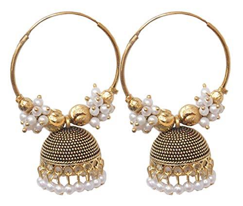 Pahal étnico Bollywood - Pendientes de aro con perla oxidada de oro grande indio, joyería de novia para mujer
