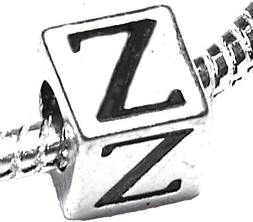 SKYUXUAN Cuenta chapada en plata con nombre inicial del alfabeto, para pulseras de dije, letra Z