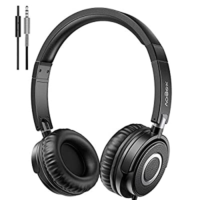 Vogek Headphones with Microphone, Portable Foldable On Ear Headsets Wired with Stereo Bass, Noise Isolating and Adjustable Headband for Home Work Online Office Travel, Black from VOGEK
