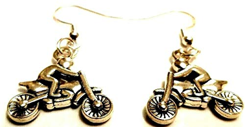 Pendientes 3D de motociclista en moto con ganchos de plata de ley para bicicleta TT's Jewelry Dirt Bike Speedway