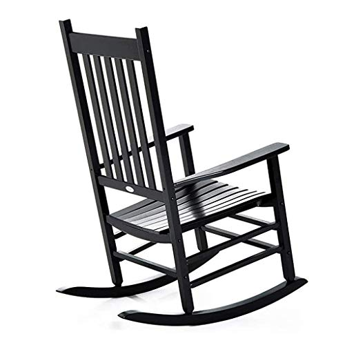 lilizhang Rocking Chairs Large Adults Lounge, Wooden Heavy Duty Porch Rocker Chair with Wide Seat and Armrest, Perfect for Backyard, Balcony, Pools and Lawn, Load 175kg