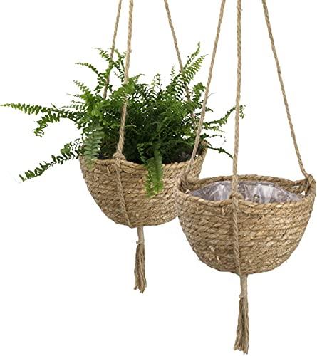 La Jolíe Muse Set di cestini per fioriera da appendere alghe naturali, Vasi di piante indoorEco-friendly, Copertura Plant Pot, 23cm x 15cm, Pack 2