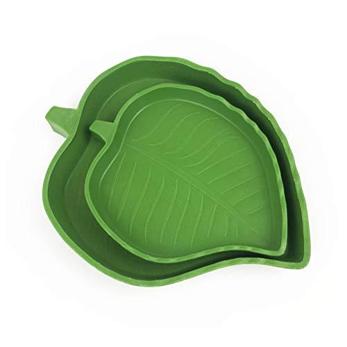 POPETPOP Reptile Leaf Wasser Dish-2 Pack Reptile Futternapf für Haustier Aquarium Ornament Terrarium Teller Echsen Schildkröten oder kleine Reptilien Schalen