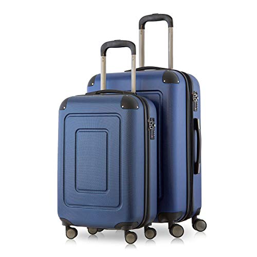 Happy Trolley - Lugano, Set de 2 Maletas, Maleta rígida Maleta de Viaje, Muy Ligera, TSA, (S+XL), Azul Oscuro
