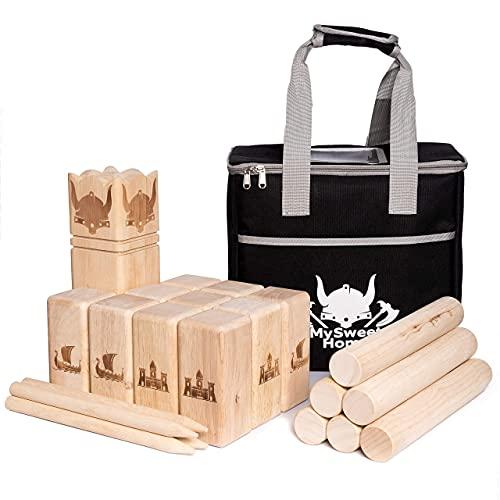 MSH XXL Kubb [Premium] Holz Wikinger Spiel aus Gummibaum Holz – Kubb Spiel für Erwachsene und Kinder - mit praktischer Tragetasche