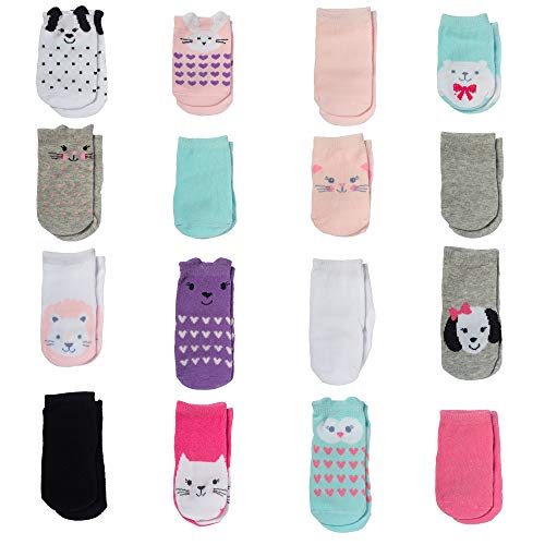 Little Me Baby Girl Socks, 0-12 & 12-24 Months, Multi, 16 Count