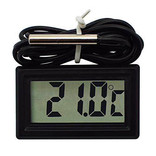 Digitales Aquarium-Thermometer für Aquarium, Kühlschrank, Wasserthermometer, elektronisches Messthermometer, wasserdicht, 3 Meter Sonde (schwarz)