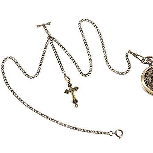 ManChDa Double Albert Chain Taschenuhr, Curb Link Chain 3 Haken Antique Plating Shield Design Fob T Bar für Männer Bass mit Kreuz