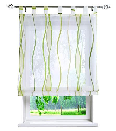 BAILEY JO Voile Raffrollo mit Wellen Druck Design Rollos Schlaufen Transparent Vorhang (BxH 120x140cm, grün)