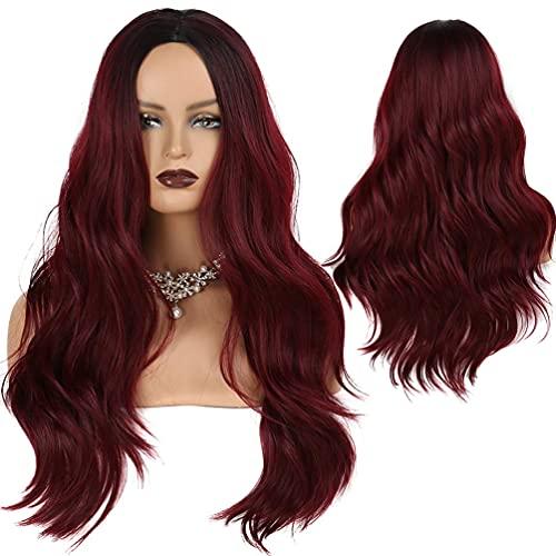 Pelucas de Rojo Vino Onduladas Largas de 26' para Mujeres Niñas Peluca Ombre Rojo Vino con Raíces Negras Pelucas de Cosplay Sintéticas