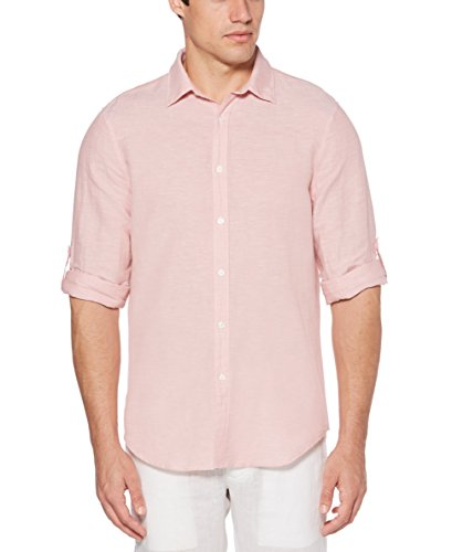 Perry Ellis Men's Rolled-Sleeve Solid Linen Cotton Button-Up Shirt, Himalayan Pink-4DSW4021, Extra Extra Large