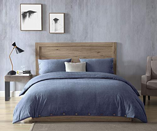 EXQ Home 100% Washed Cotton Denim Blue Duvet Cover Set King Size 3 Pcs, Super Soft Bedding Vintage Comforter Cover with Button Closure (Hypoallergenic, Breathable)
