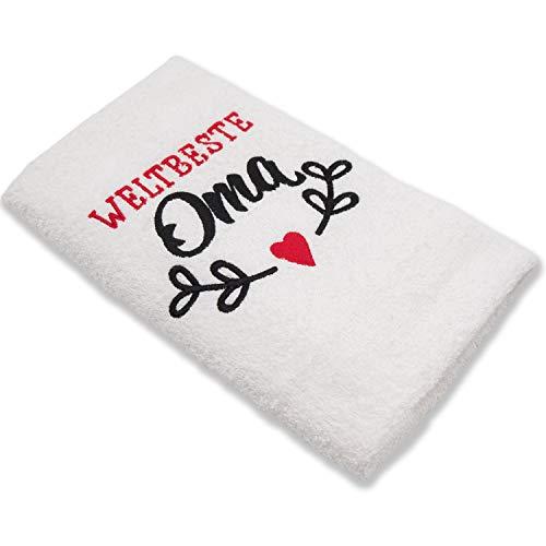 HISA DARIL® Oma Geschenk Handtuch 100{fac01ad15d5cd5494aab6f0521d3e78bc230ffb124e0c31e322ee54bfbdde10f} Baumwolle | Bestickt [ORIGINAL Design WELTBESTE OMA] zum Geburtstag, Muttertag, beste Oma Geschenke, Geschenke für Frauen (Weiß)