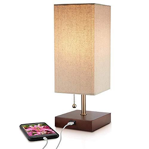 Bureaulamp USB-laadaansluiting met stopcontact, bedlampje in eenvoudig design, zwarte sokkel en parasol van stof, bedlampje ideaal voor slaapkamer, logeerkamer, kantoor (vierkant