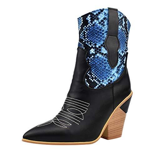Allence Damen Stiefeletten mit Absatz Schlange Drucken High Heel mit Blockabsatz Reissverschluss Retro Frauen Winter Bequem Ankle Boots für Party Hochzeit