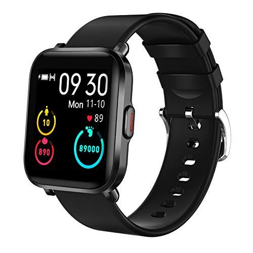 KUNGIX Smartwatch, Fitness Armband mit 18 Sportmodi Sehr Dünn Fitness Tracker Uhr Herren Damen Smart Watch mit Pulsuhren Kompass Sportuhr Wasserdicht IP68 Armbanduhr für Android iOS (schwarz)