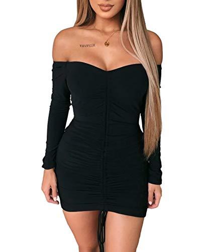 AMABILEMIA Vestito Corto Elegante Donna Mini Abito Sexy Nero Maniche Lunghe Vestito da Sera Aderente Abito Scollato Party AM397 (Nero, Taglia M)