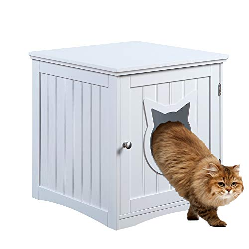 Cat House Side Table, Nightstand Pet House, Litter Box Furniture Indoor Pet Crate Litter Box End...