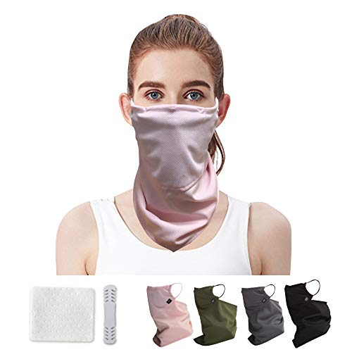 Bandana face mask for Women Youth | with ear loops | Neck Gaiter Reusable| Breathable| filter pocket | Balaclava | Nano Silver| Sport running exercising |fit S-XXL (Light Pink)