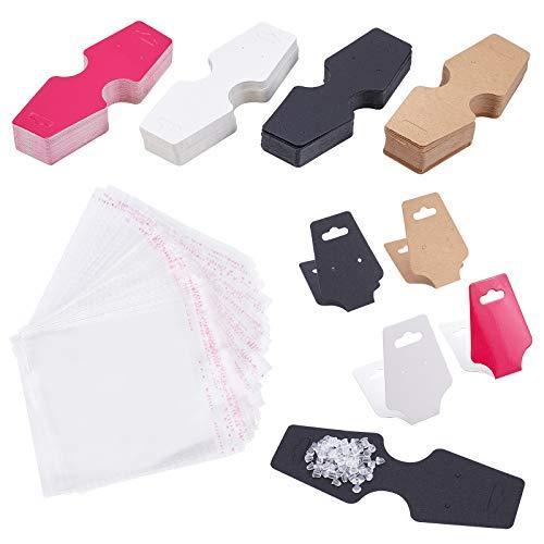 PandaHall 200 tarjetas plegables de exhibición de collares y pendientes en blanco con 200 piezas de plástico transparente para pendientes y 200 bolsas de celofán OPP.