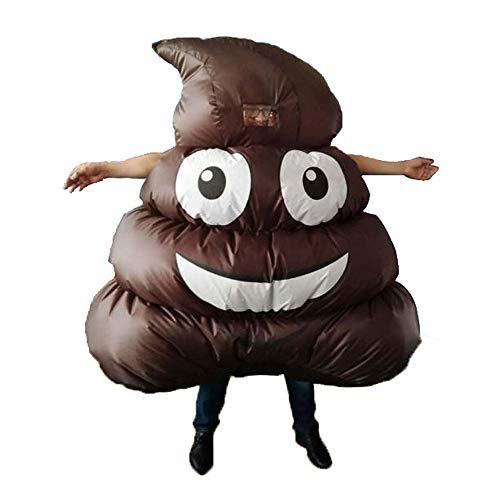 Decdeal Aufblasbares Kostüm Kackhaufen Form Lüfter Gebläse Erwachsene Ganzkörperanzug für Karneval Cosplay Weihnachten Halloween Party