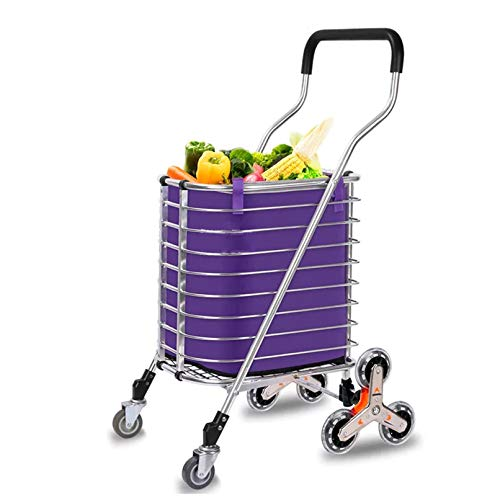 ZWSM Folding Shopping Cart, Heavy Duty Stair Climber Hand Truck Rugged Aluminum Frame with Bigger Waterproof Shopping Bag, Adjustable Elastic Rope