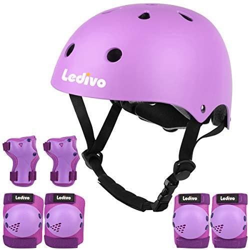 LEDIVO Kids Adjustable Bike Helmet Toddler Helmet for Kids 3-8 Years Girls Boys, Sport Protective Gear Set Knee Elbow Wrist Pads for Roller Skating Skateboard BMX Scooter Cycling (Purple)