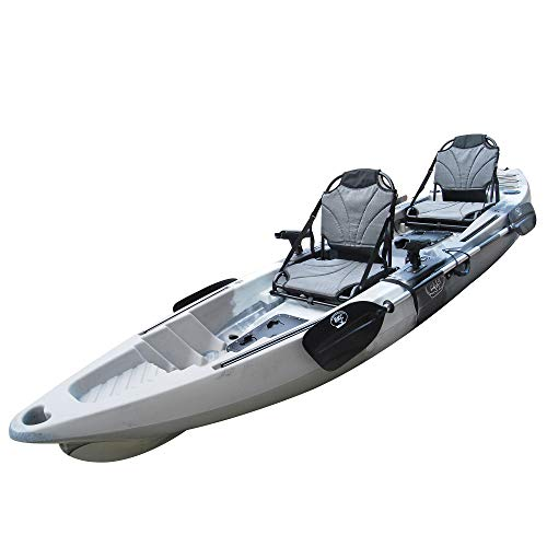 "BKC TK122U 12' 6"" Tandem 2 or 3 Person SIt On Top Fishing Kayak w/Upright Aluminum Frame Seats, 2 Paddles and 4 Fishing Rod Holders Included"